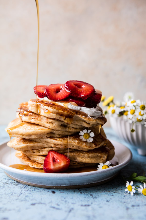 Buttermilk-Pancakes-with-Chamomile-Cream-and-Gingered-Strawberries-1
