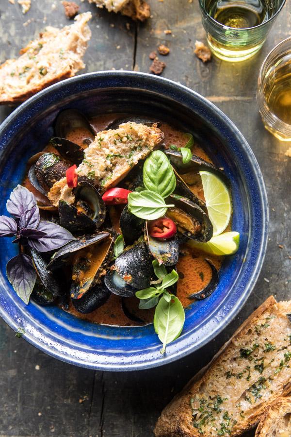 Thai-Coconut-Butter-Mussels-with-Garlic-Lemongrass-Toast-1